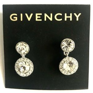 Givenchy Round Crystal Drop Earrings